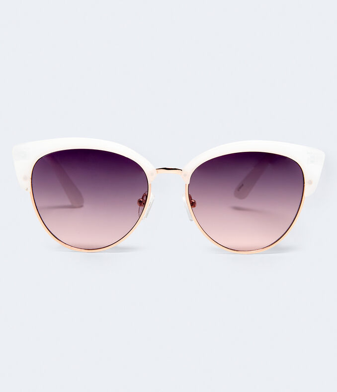 White Plastic Cateye Sunglasses