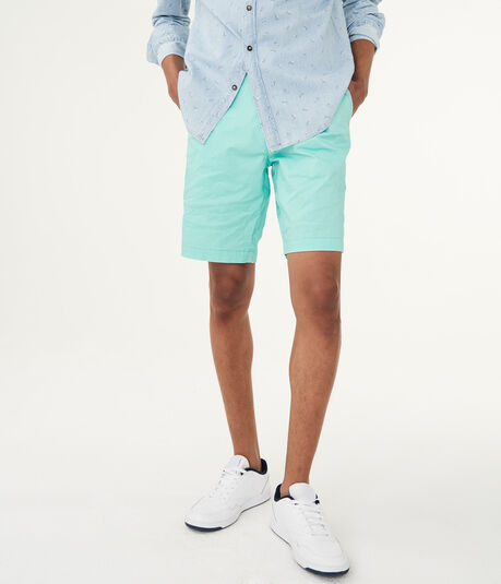 Triangle Dot Stretch Flat-Front Chino Shorts***