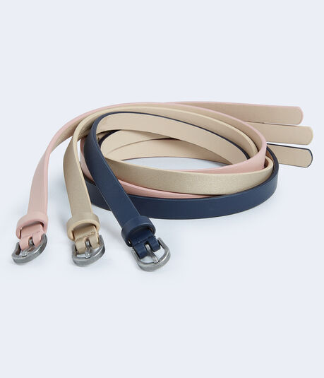 Blush Faux Leather Skinny Belt 3-Pack