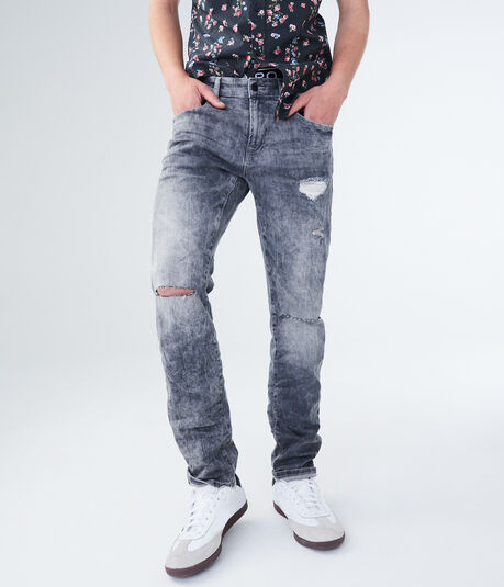 Skinny Light Grey Destroyed Stretch Jean
