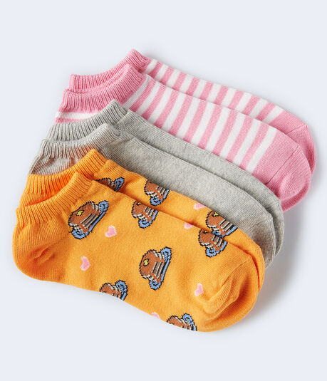 3-Pack Pancakes, Stripe & Solid Ankle Socks***