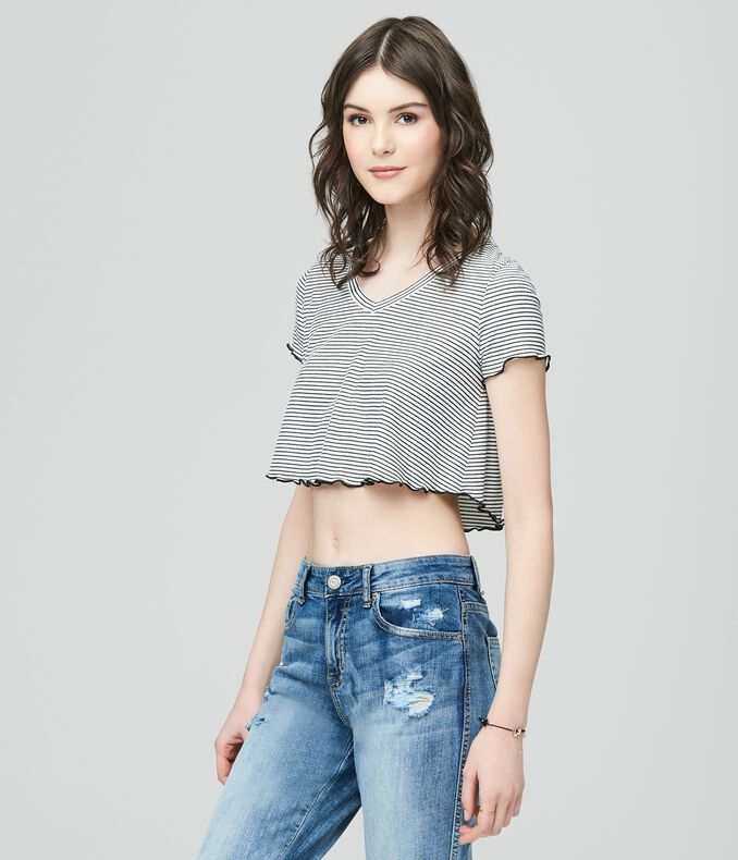 ecb35f3d592254 Images. Clearance. Striped V-Neck Crop Top