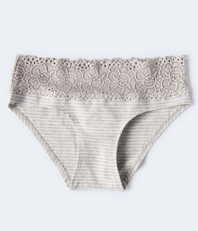 Thin Stripe Lace-Trim Hipster