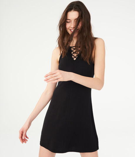 Solid Lace-Up Shift Dress