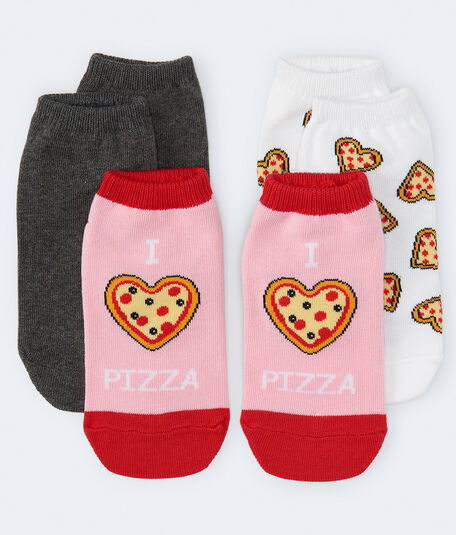 3-Pack Pizza, Solid & I Heart Pizza Ankle Socks