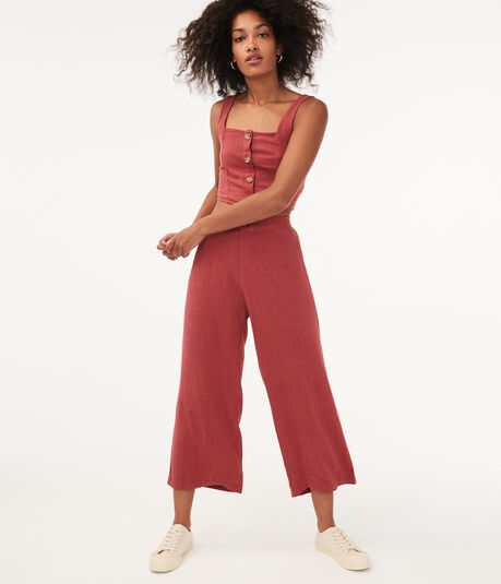 High-Rise Linen Wide-Leg Pants