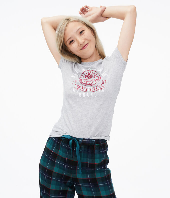 Aeropostale Embroidered Flower Graphic Tee