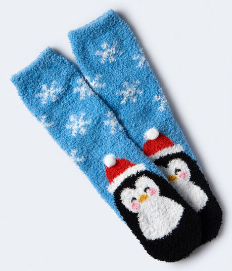 Penguin Fuzzy Crew Socks