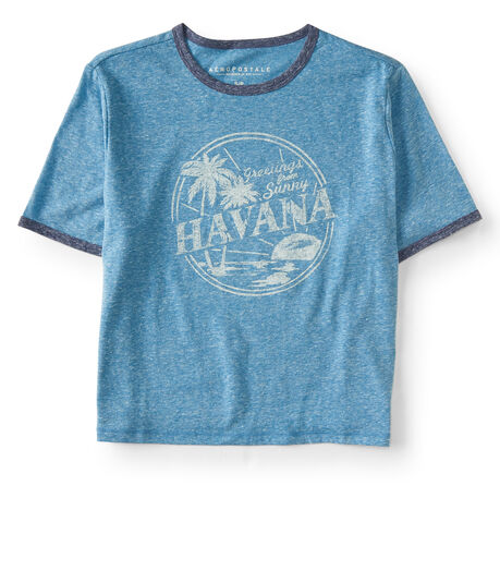 Greetings From Havana Crop Ringer Tee