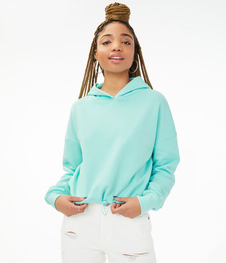 Cinched Cropped Pullover Hoodie