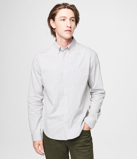 Long Sleeve Small Dot Woven Oxford Shirt