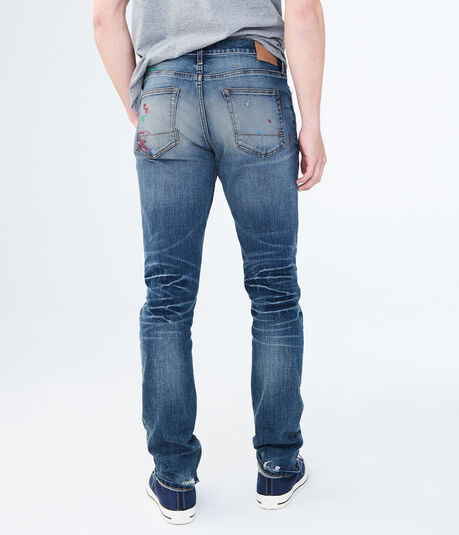 Slim Straight Medium Wash Painted Stretch Jean