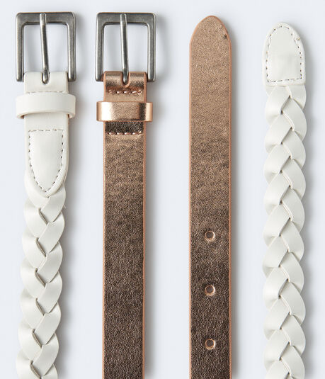 Metallic & Braided Faux Leather Belt 2-Pack
