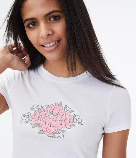 Flocked Roses Graphic Tee