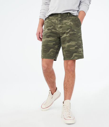 "Camo Stretch 9.5"" Flat-Front Shorts"