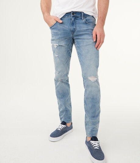 Flex Effects Super Skinny Light Wash Destroyed Jean