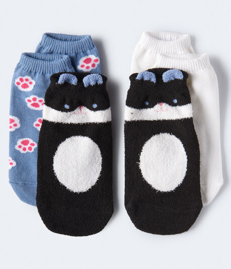 Fuzzy Cat Ankle Sock 3-Pack