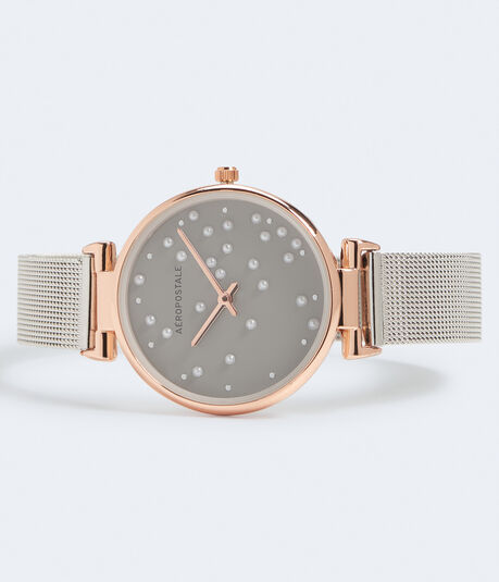 Metal Mesh Faux Pearl Analog Watch***