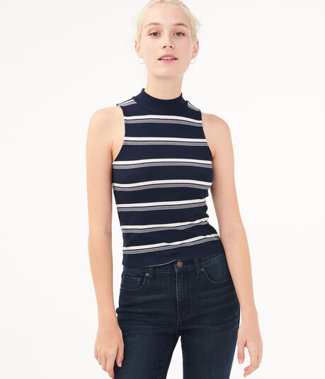 Striped Mock-Neck Tank