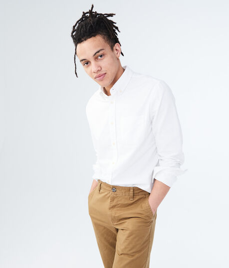Long Sleeve Solid Oxford Woven Shirt