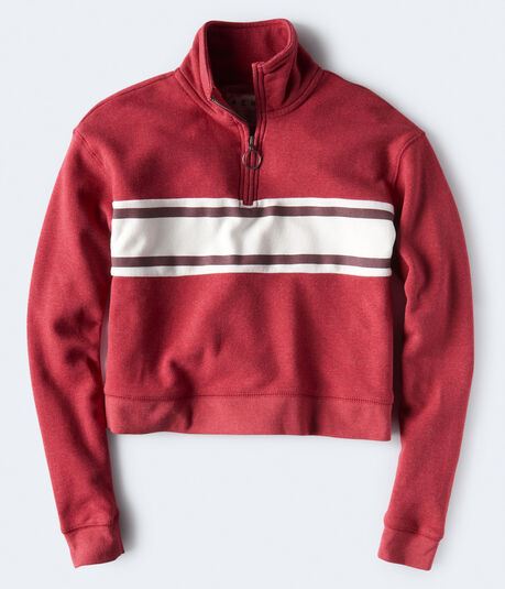 Chest Stripe Half-Zip Pullover Sweatshirt