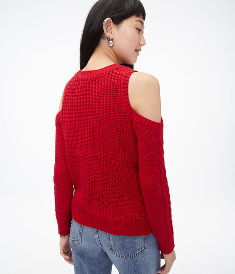 Lace-Up Cold-Shoulder Sweater