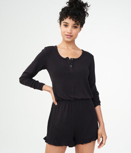 Long Sleeve Henley Romper***