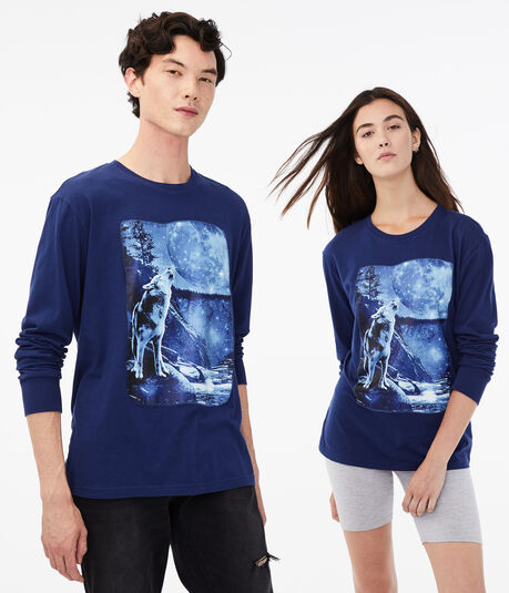 Long Sleeve Wolf Spirit Animal Graphic Tee
