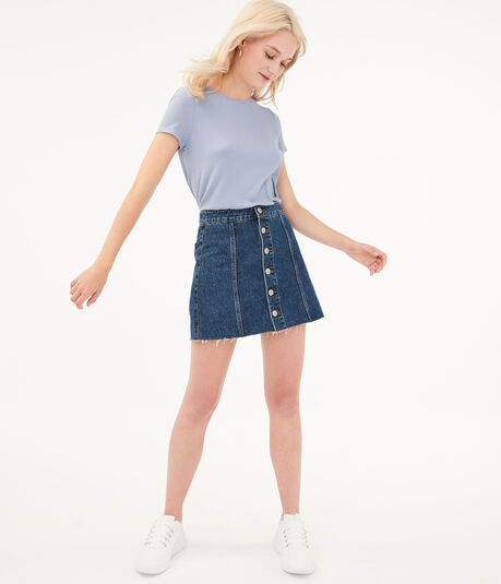 Real Denim High-Rise Button-Front Mini Skirt