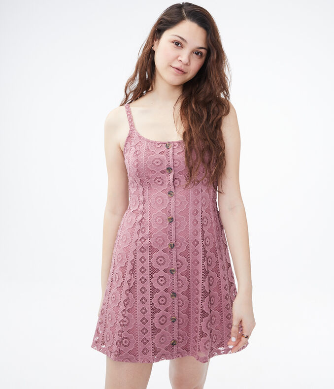 Lace Button-Front Fit & Flare Dress
