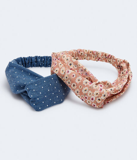 Floral & Denim Dot Headband 2-Pack