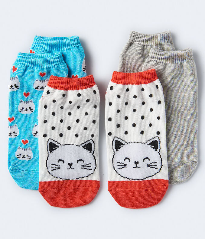 3-Pack Cat Face, Heart Cats & Solid Ankle Socks