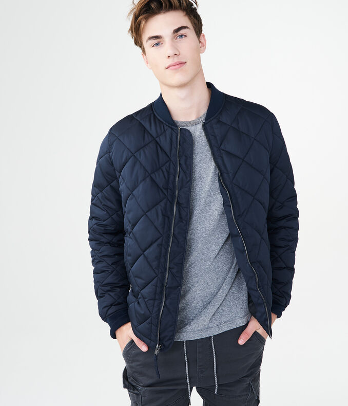 Diamond-Quilted Bomber Jacket