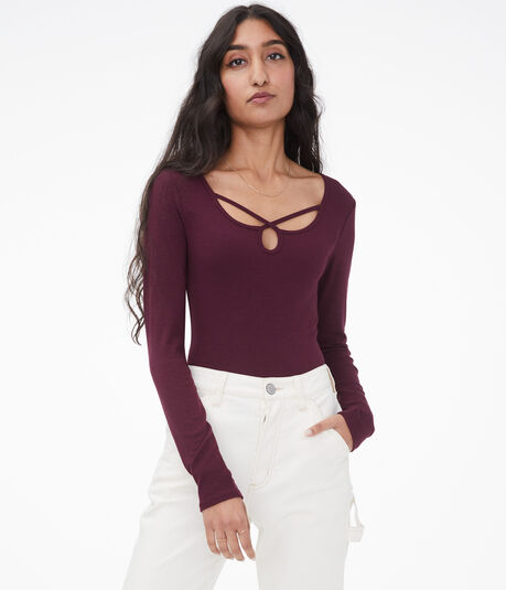 Long Sleeve Seriously Soft Strappy Keyhole Bodycon Top***