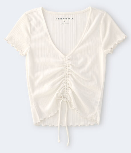 Ribbed Ruched-Front Tee