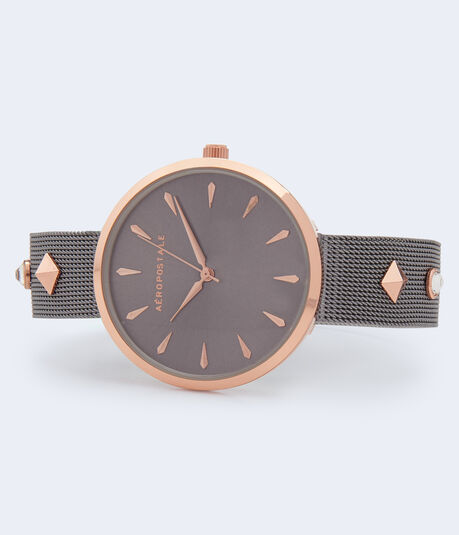 Studded Metal Mesh Watch***