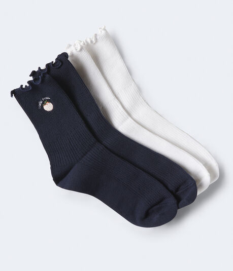 2-Pack Embroidered Crew Socks