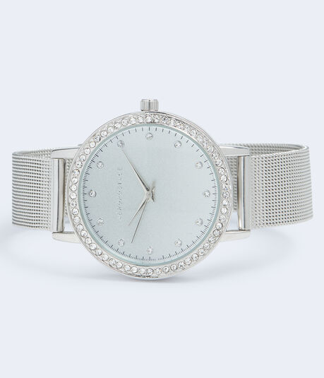 Mesh Rhinestone Bezel Analog Watch