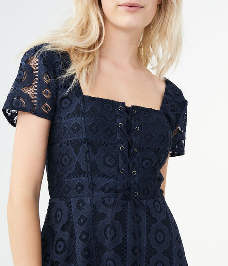 Solid Square-Neck Lace Corset Fit & Flare Dress