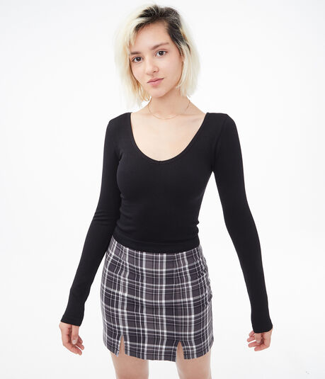Seamless Ribbed Scoop-Neck Cropped Tee