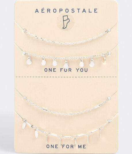 Best Friends Dangling Discs & Ovals Anklet Set