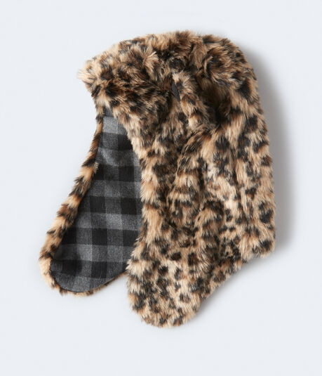 Leopard Faux Fur Trapper Hat