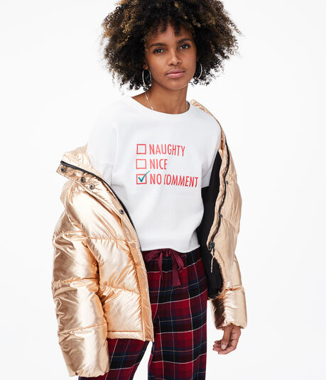 Naughty List Cropped Crew Sweatshirt