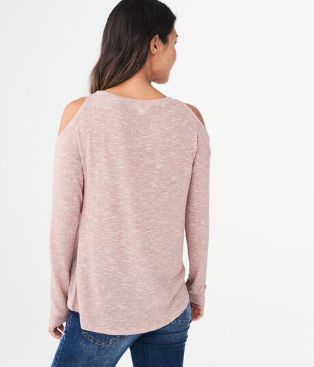 Long Sleeve Metallic Lace-Up Cold-Shoulder Top***