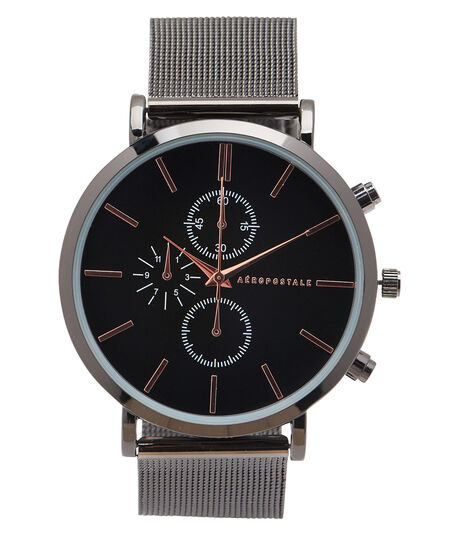 Metal Mesh Two-Tone Analog Watch