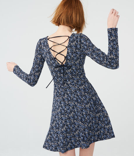 Ditsy Floral Tie-Back Fit & Flare Dress