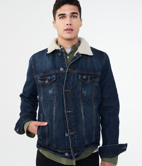 Sherpa-Lined Dark Wash Denim Trucker Jacket