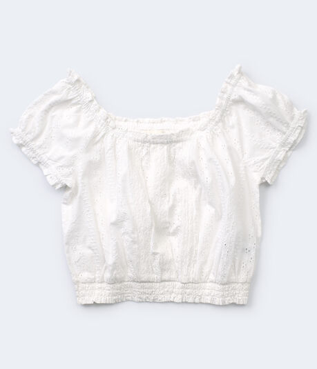Eyelet Peasant Crop Top