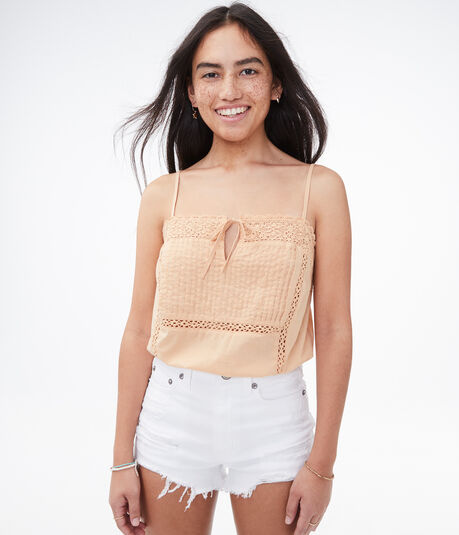 Lace Inset Cropped Cami