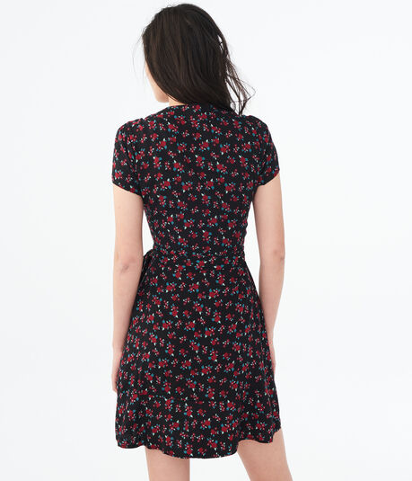 Ditsy Floral V-Neck Wrap Dress***
